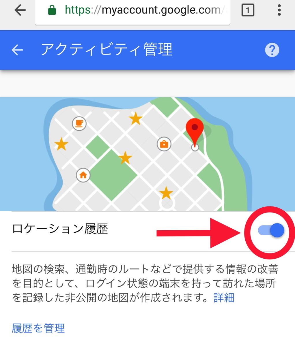 Googleのアクティビティ管理画面